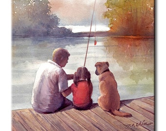 Father and Daughter Fishing with Dog Art Tile Print on Ceramic with Hook or with Feet Indoor Use-Fishing,Gift for Daughters