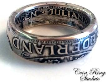 Coin Ring Holland - Netherlands 2 1/2 Silver Gulden - Handmade Rings from Coins  Netherland  - Holland - Queen Juliana - Nederland