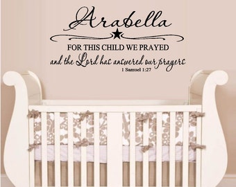 For this Child we prayed...: Samuel 1 27  Custom Name - Wall or Window Decal