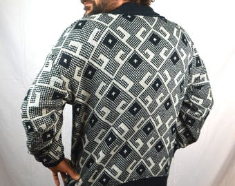 Vintage Black White Geometric 80s Cardigan Sweater