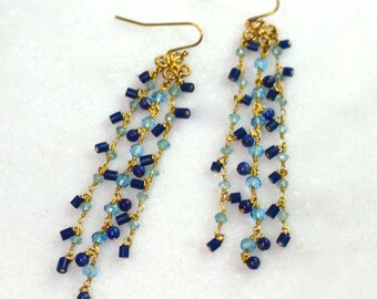 Lapis, Swiss Blue Topaz Gold Fill Tassel Earrings...