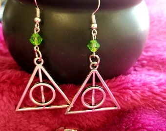 Deathly Hallows earring and ring set-Slytherin-