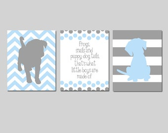 Baby Boy Nursery Art Trio - Set of Three 11x14 Prints - Chevron Stripe Puppy Dogs, Polka Dot Quote - Frogs Snails and Puppy Dog Tails