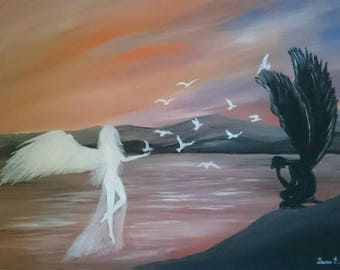 """Original fantasy acrylic painting """"A touch of light"""" signed, on 50x70 cm canvas."""