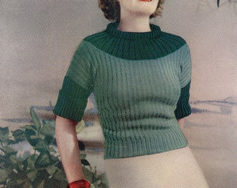 Vintage Sweater 1934  Ladies Vintage Knitting Pattern Summer Girl  Pdf Digital Download