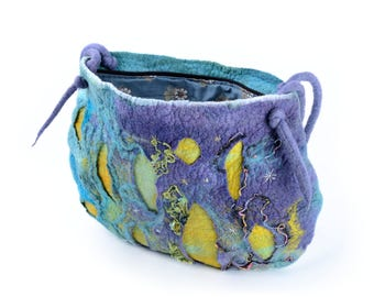 Galaxy, space or night sky felt bag - fancy, fairytale, mystic shoulder bag - fiber art, wool, long designer purse [T26]