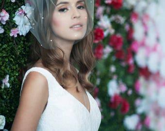 birdcage veil, bird cage veil, blusher veil, tulle bridal birdcage veil, tulle veil, small blusher, veil ~ MARIE MEIDUM w/ Pearls All Over