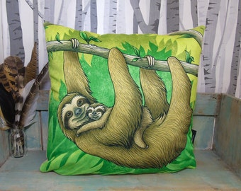 Sloths Illustration Vegan Cushion Throw Pillow - Faux Suede 45 x 45cm