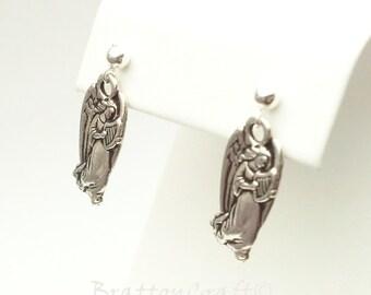Silver Angel Earrings - Christmas Earrings - Christmas Jewelry - Holiday Jewelry - Holiday Earrings - Spiritual Jewelry