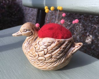 Quirky pincushion - upcylced china duck - ideal Mother's Day gift, for all crafters, sewing enthusiasts, useful ornaments