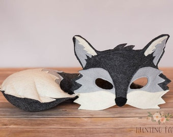Silver the Grey Fox Mask and Tail Pretend Play Costume Woodland