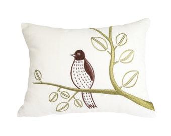 Bird Lumbar Pillow Cover, Bird Throw Pillow, Cream Linen Bird on branch, Embroidered cushion, Couch Pillow, Modern Bird Pillow Case
