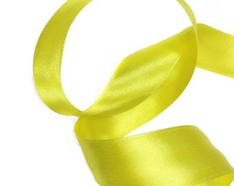 Yellow  Ribbon, Double-Faced Yellow Satin Ribbon Trim