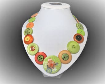 Button necklace - Citrus Twist. Gift for her, boho necklace, statement necklace, unique gift, buttons, handmade jewelry, button jewelry OOAK