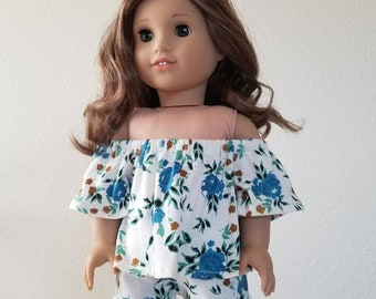Short Set for 18 inch dolls by The Glam Doll- teal floral Off the Shoulder Top and Matching shorts