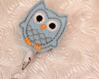 adorable owl - name badge holder - retractable- felt badge reel - badge reel - badge clip - pediatric - nurse - name badge holder