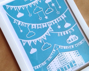 A personalised Christening Day papercut, hand cut and framed. Modern church design. Made to order with your bespoke requirements.