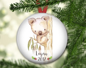 personalized Christmas ornaments for kids - baby's first christmas ornament - koala christmas ornament - ORN-PERS-19