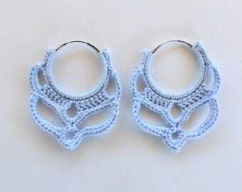 Silver Plated Blue Crochet Hoop Earrings 25mm