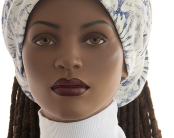 Wide Headband  Blue White Wide Headband Dreadie Head Band Cotton Knit Womens Headband Dreadlock Headband Handmade