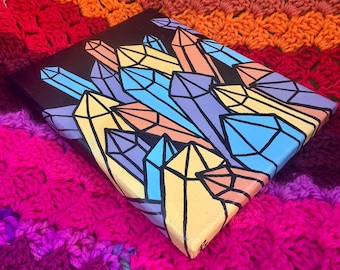"""Pastel Crystals 1 Mixed Media Painting 10""""x8"""" - Pop Art Gallery Wrapped Canvas Artwork, Ready To Hang - Quartz Point Crystal Cavern Decor"""