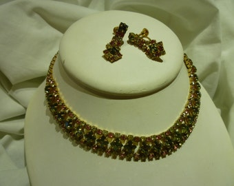 C15 Vintage Multi-Color Rhinestone Choker and Earring Set.