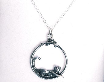 Cat and Mouse Hoop Necklace