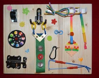 Sensory Board Medium Size, Activity Board, Waldorf, Montessori, Wooden Busy Toy. Alzheimer Busy Board, Dementia