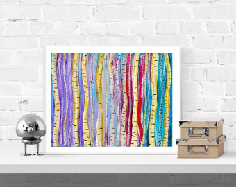 Abstract Birch Trees Wall Art Print - Aspen Trees Abstract Art Print - Large Forest Art Print in Purple, Silver, Red, Teal, White & Gold