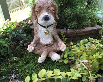 Dog in Meditation Figurine, Yoga Position Dog Figurine, Fairy Garden Accessory, Garden Decor, Topper, Shelf Sitter