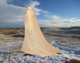 Ivory Lace Cape Cloak Hooded Wedding Train  Medieval Renaissance Fairy Bridal Elven Faerie Victorian