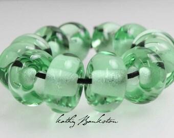 Green Large Hole Beads, Green Large Hole Lampwork Beads, Clear Green Glass Beads, Large Hole Green Beads, Big Hole Beads, Clear Green Beads