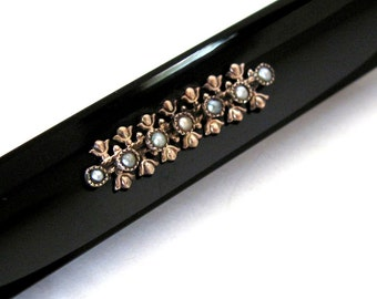 Bar pin black Victorian mourning jewelry antique mourning brooch black bar brooch with gold and seed pearls mourning pin
