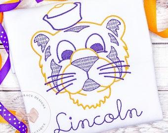 Vintage Tiger Embroidered Shirt or Bodysuit