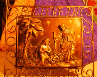 Gorgeous Copper Metal Nativity Scene With the Virgn Mary, Baby Jesus and Joseph