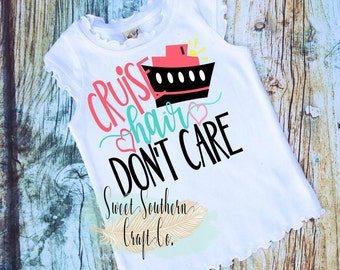 Cruise Hair Don't Care Youth Vacation Shirt, Baby & Teen Sizes Available, Cruising, Beach, Vacation, Boat Hair, Mermaid Hair, Cute Girls Top