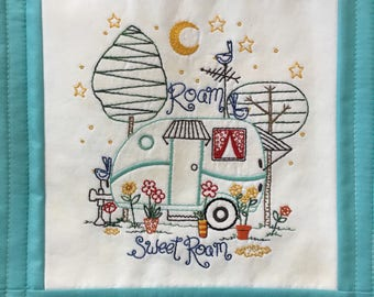 Hand Embroidery Pattern - vintage camper - Roam Sweet Roam