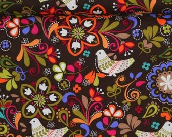 Michael Miller Birds of Norway Espresso Folk Birds  - cx3589 - FBTY Baby Carrier Fabric - 74 Yards In Stock