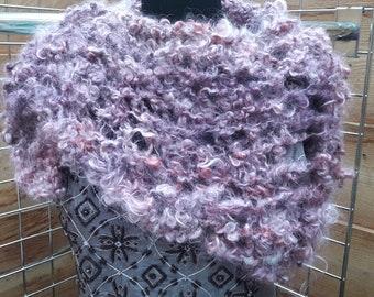 Hand spun mohair shawl, hand dyed, home grown pet fibre, hand knit