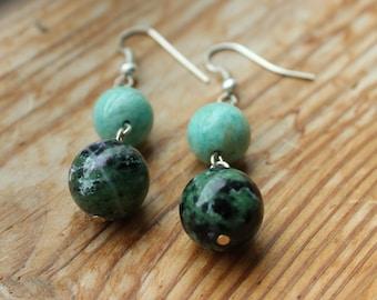 Ruby Epidote and Amazonite Gemstone Drop Earrings