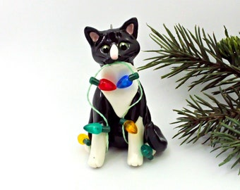 Cat Black White Tuxedo PORCELAIN Christmas Ornament Figurine Lights