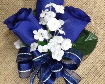 New Artificial Navy Rose Corsage, Blue Rose Mother's Corsage, Navy Boutonniere, Navy Bout, Navy Prom Corsage