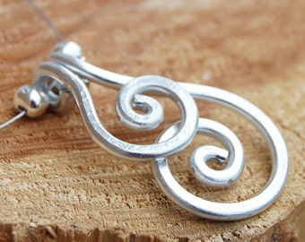 Aluminum Necklace. Minimalist. Silver. Overlapping. Spirals. Wire Jewelry.
