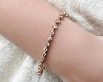 Gold Tennis Bracelet Bridal Bracelet Stackable Bracelet Bridal Jewelry Wedding Jewelry Crystal Wedding Bracelet Dainty Bridal Jewelry B244-G