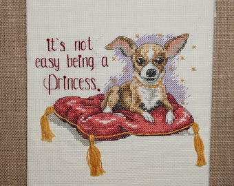 Cross Stitch, Completed Cross Stitch, Finished Cross Stitch, Ready to Frame, Chihuahua, Princess, 7x7.5, Pillow, Dog, Dog Cross Stitch