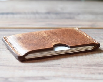 Leather Card Sleeve, groomsmen gift, leather card holder, minimalist wallet, awesome groomsmen gift