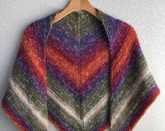 Handmade Knit Wool Free Cotton and Acrylic Shawl Desert Sunset Wrap Purple Orange Red Green Lightweight Lace Stitch Shawl