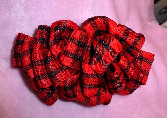 Becky Bows ~  Barrette ribbon Hand crafted oversized  BIG hair bow Women or Girls red black plaid