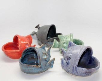 Pottery Fish Pig, or Salt Cellar MADE PER ORDER, Cook's Gift, Bath Salts Dish, Jewelry Fishy Dish, Sponge Holder, Dip Server