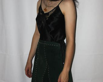 Vintage 90s Dark Green Leather Skirt with Studs and Lace Up Detailing Size S